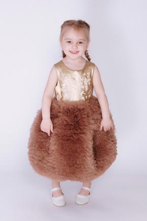 Дитяча золота сукня з фатиновою спідницею і шкіряним верхом в прокат и oренду в Киiвi. Фото 1