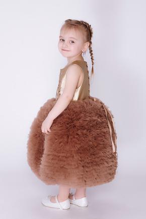 Дитяча золота сукня з фатиновою спідницею і шкіряним верхом в прокат и oренду в Киiвi. Фото 2