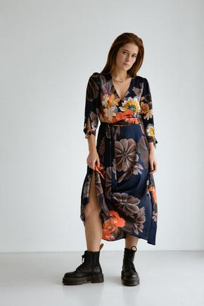 Шелковое платье длины миди синего цвета в большие цветы в прокат и аренду в Киеве. Фото 2