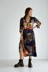 Шелковое платье длины миди синего цвета в большие цветы в прокат и аренду в Киеве. Фото 3