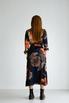 Шелковое платье длины миди синего цвета в большие цветы в прокат и аренду в Киеве. Фото 4