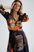 Шелковое платье длины миди синего цвета в большие цветы в прокат и аренду в Киеве. Фото 5