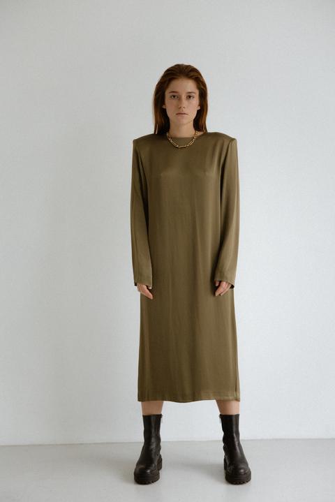 Платье миди с длинным рукавом оливкового цвета