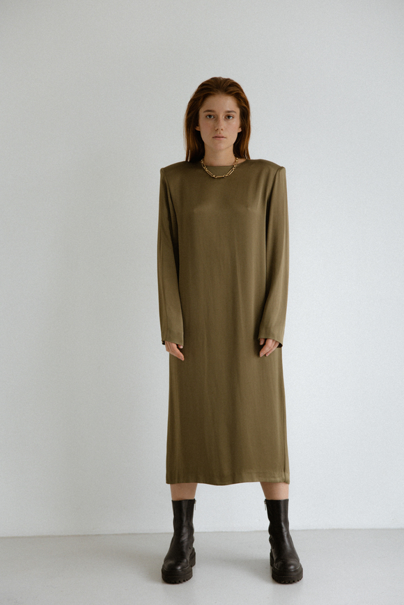 Платье миди с длинным рукавом оливкового цвета в прокат и аренду в Киеве. Фото 1