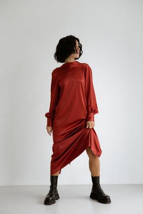 Шовкова сукня довжини міді бордового кольору з бантом в прокат и oренду в Киiвi. Фото 2