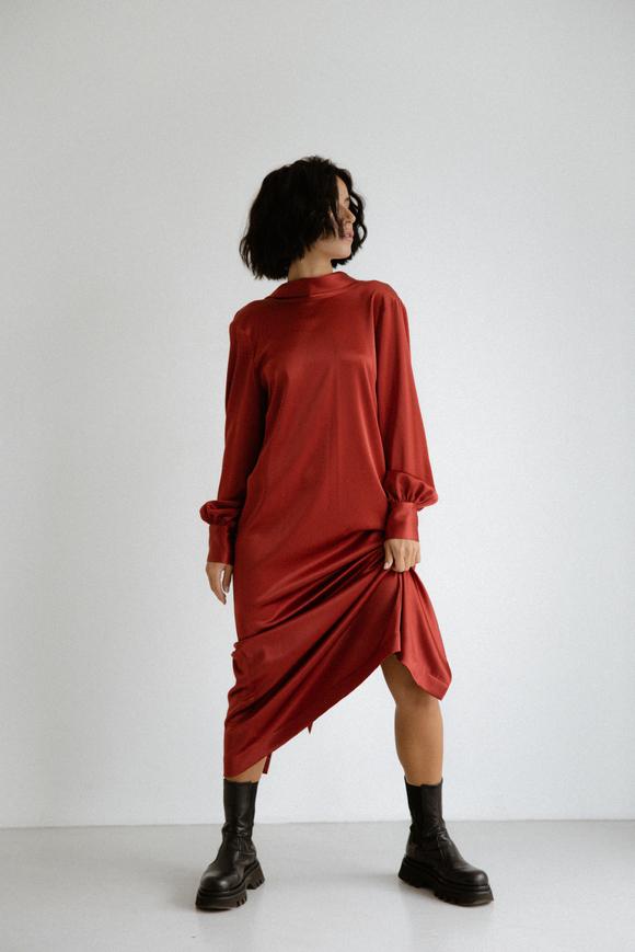 Шелковое платье длины миди бордового цвета с бантом в прокат и аренду в Киеве. Фото 2