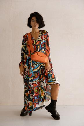 Шовкова сукня довжини міді з фантазійним принтом в прокат и oренду в Киiвi. Фото 2