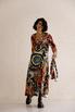 Шелковое платье длины миди с фантазийным принтом в прокат и аренду в Киеве. Фото 3