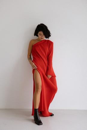 Платье плиссе на одно плечо красного цвета в прокат и аренду в Киеве. Фото 1