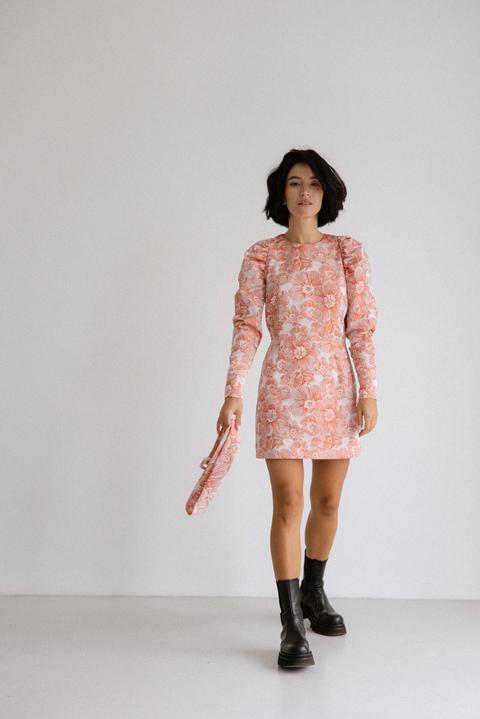 Платье из жаккарда с принтом цветы розового цвета цвета длины мини