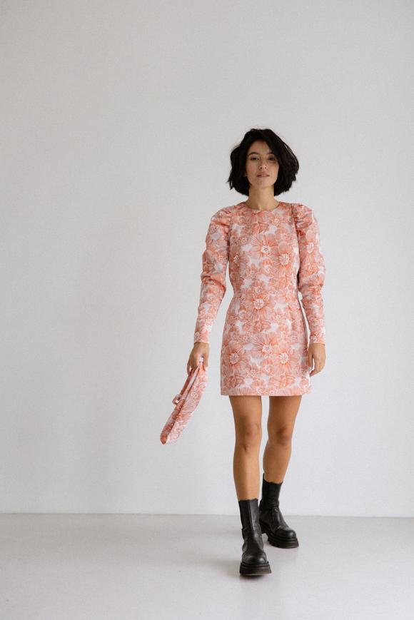 Платье из жаккарда с принтом цветы розового цвета цвета длины мини в прокат и аренду в Киеве. Фото 1
