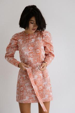 Сукня з жаккарда з принтом квіти рожевого кольору кольору довжини міні в прокат и oренду в Киiвi. Фото 2