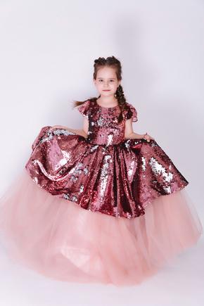 Дитяче рожеве плаття в паєтки з бантом в прокат и oренду в Киiвi. Фото 1
