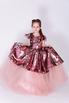 Детское розовое платье в пайетки с бантом в прокат и аренду в Киеве. Фото 1