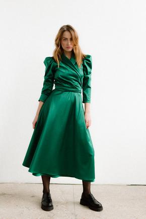 Зелена сукня на запах з об'ємними плечима і скошеним низом в прокат и oренду в Киiвi. Фото 2