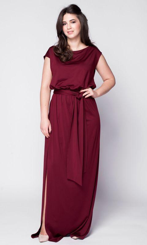Бордовое платье макси с поясом