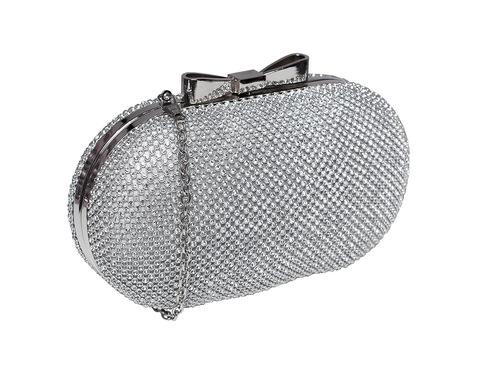 Блестящий круглый серебряный клатч