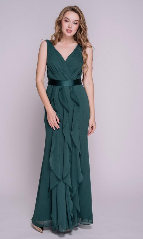 Зеленое платье в пол с воланами и поясом