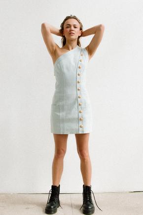 Джинсова сукня міні з асиметричним верхом в прокат и oренду в Киiвi. Фото 2