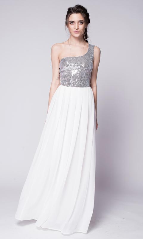 Платье в пол на одно плечо с серебрянными пайетками