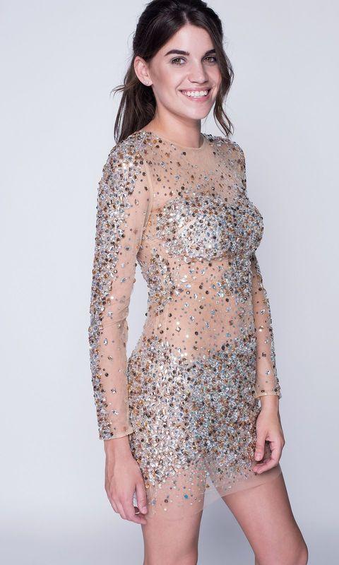 Бежевое прозрачное платье мини в камнях