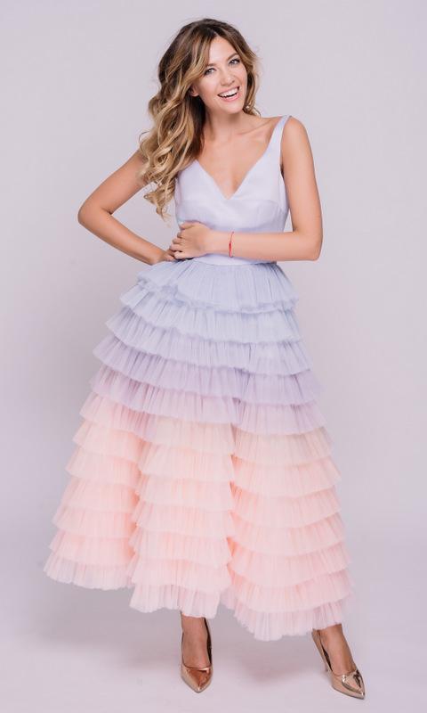 Платье с лавандовым градиентом