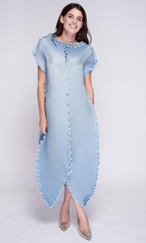 Голубое платье-тюльпан