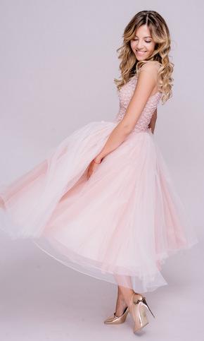 Ніжно-рожева сукня міді з пішною спідницею і аплікаціями в прокат и oренду в Киiвi. Фото 2