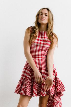Сукня в червону клітинку з асиметричним низом в прокат и oренду в Киiвi. Фото 1