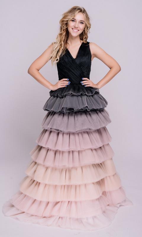 Платье с градиентом в пол