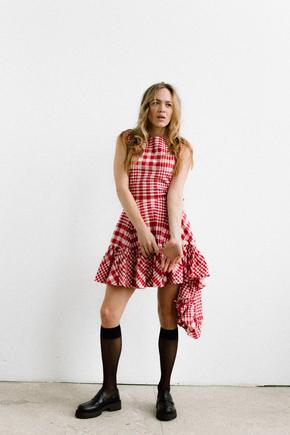 Сукня в червону клітинку з асиметричним низом в прокат и oренду в Киiвi. Фото 2