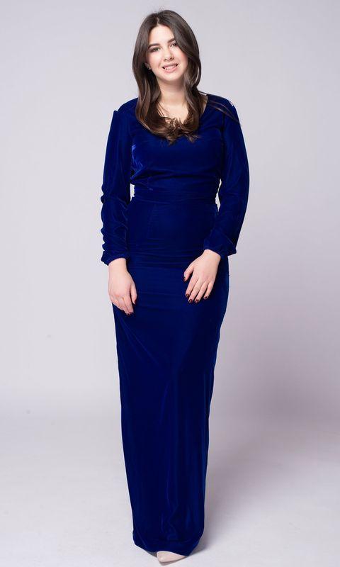 Бархатное синее платье с длинными рукавами