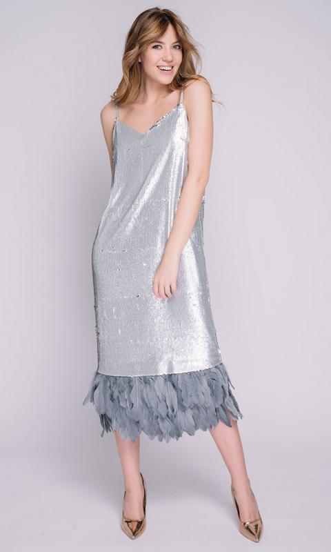 Платье комбинация с серебряными пайетками и сьемными перьями