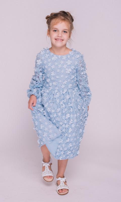 Детское голубое платье с аппликацией