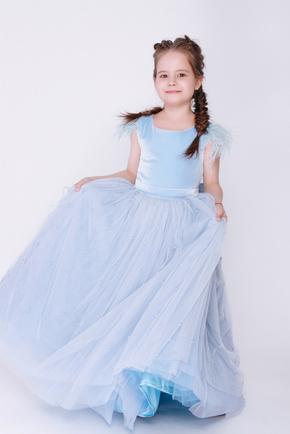 Дитяче блакитне плаття з намистинами в прокат и oренду в Киiвi. Фото 1