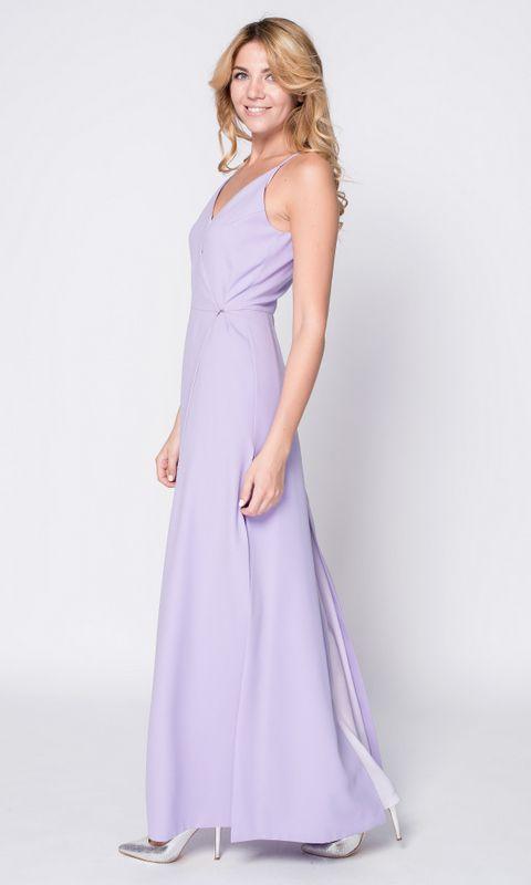Лиловое платье в пол на запах