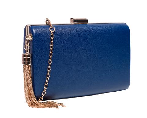 Синий кожаный клатч с кисточкой