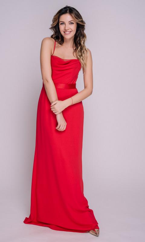 Красное платье с поясом на бретелях в прокат и аренду в Киеве, Одессе, Харькове. Фото 1