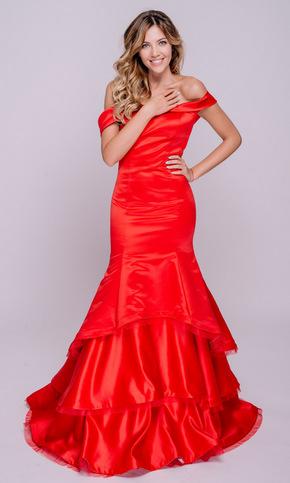 Червона сукня в підлогу зі спущеними плечима в прокат и oренду в Киiвi. Фото 1