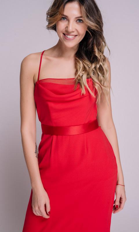 Красное платье с поясом на бретелях в прокат и аренду в Киеве, Одессе, Харькове. Фото 2