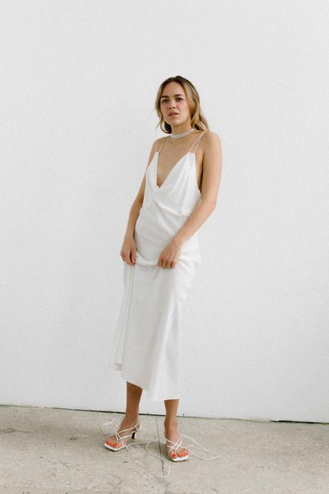 Белое платье комбинация из тенсела
