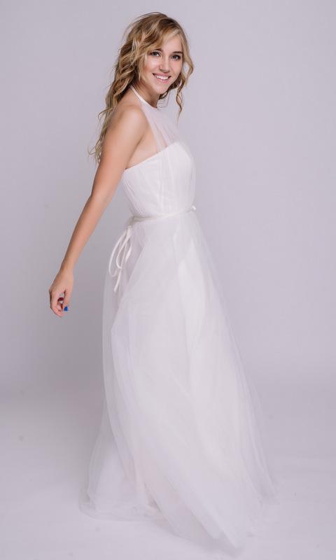Белое платье с открытыми плечами в пол в прокат и аренду в Киеве, Одессе, Харькове. Фото 3