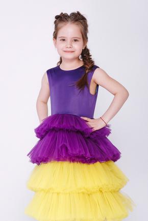 Дитяча фіолетова сукня з жовтою спідницею в прокат и oренду в Киiвi. Фото 2