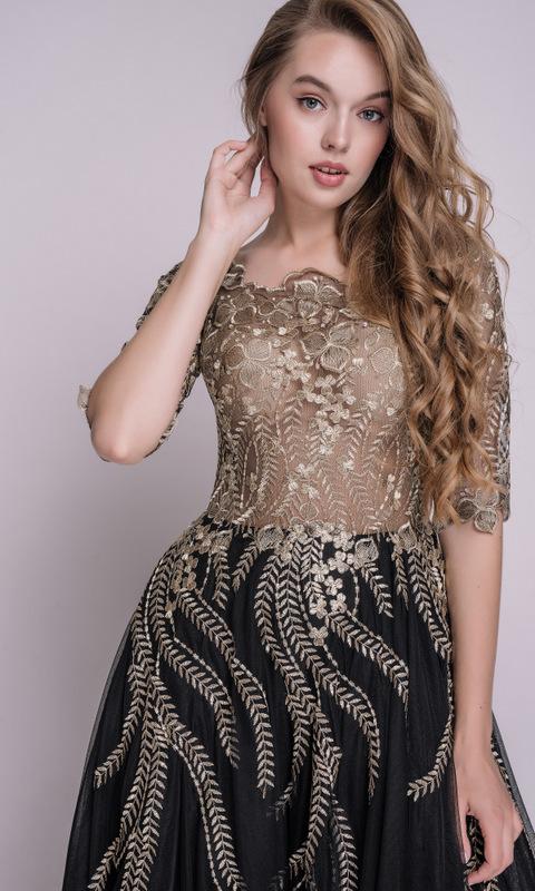 Черное пышное платье с золотой вышивкой в прокат и аренду в Киеве, Одессе, Харькове. Фото 2