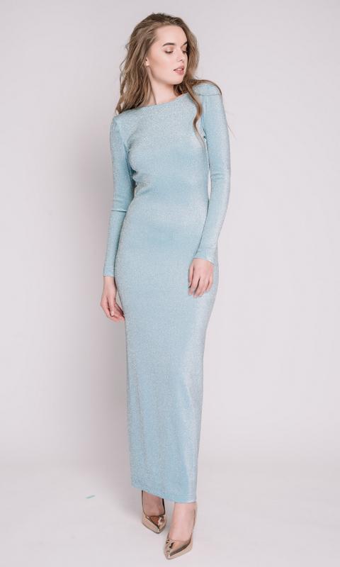 Голубое платье из люрекса