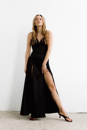 Сукня чорного кольору з розрізами на бретелях в прокат и oренду в Киiвi. Фото 2