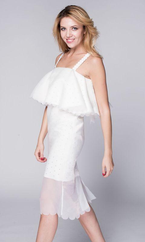 Коктейльное белое платье миди