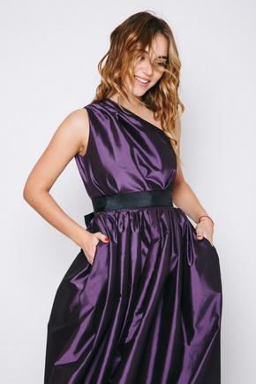 Фіолетова сукню в підлогу на одне плече в прокат и oренду в Киiвi. Фото 2