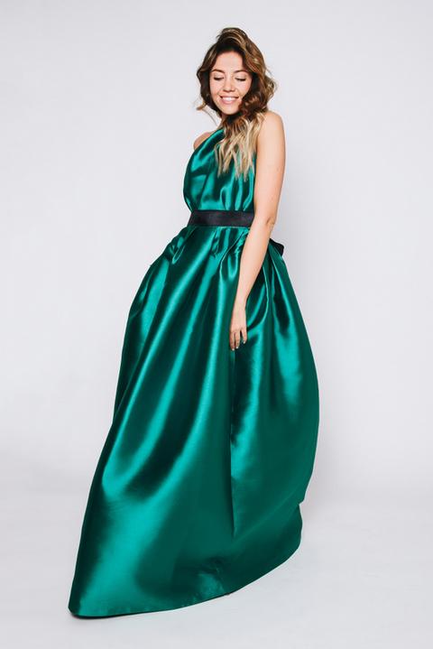 Зеленое платье в пол на одно плечо