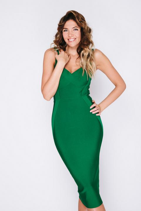 Зеленое бандажное платье на бретелях